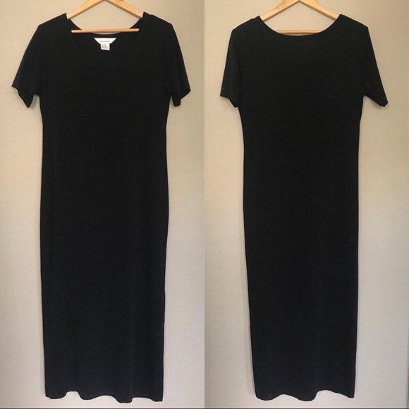 Misook Dresses Misook Short Sleeve Black Maxi Dress Size Large Poshmark
